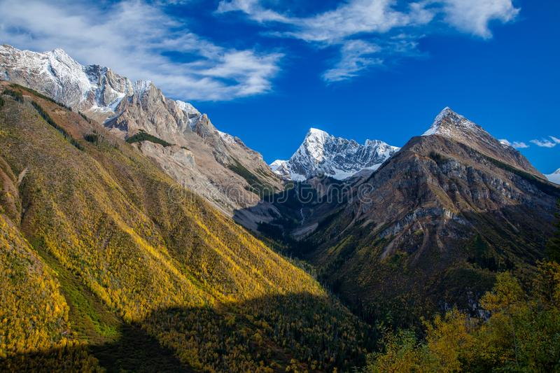 Beautiful autumn day in the Canadian Rocky Mountains in British Columbia stock image