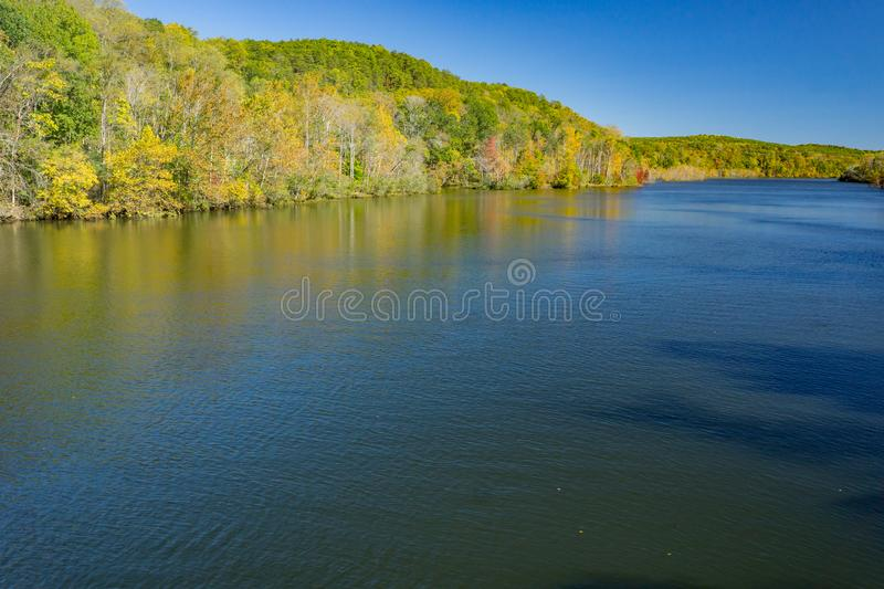 Autumn View of Leesville Lake. A beautiful autumn day on Leesville Lake located in Bedford County, Virginia, USA royalty free stock photo