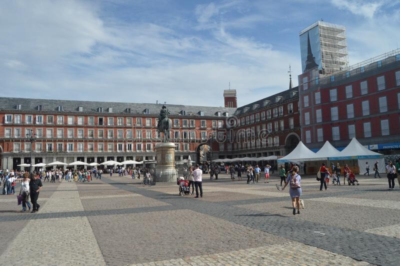 Beautiful Autumn Day On The Main Square Dating In The Sixteenth Century Of Madrid. Architecture, History, Travel. October 18, 2014. Madrid, Spain stock image