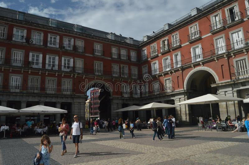 Beautiful Autumn Day On The Main Square Dating In The Sixteenth Century Of Madrid. Architecture, History, Travel. October 18, 2014. Madrid, Spain royalty free stock images