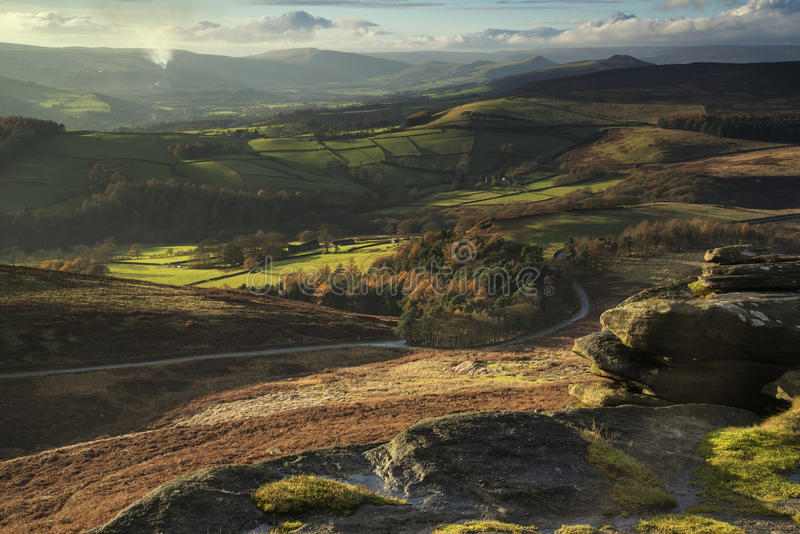 Beautiful Autumn Fall landscape of Hope Valley from Stanage Edge. Stunning Autumn Fall landscape of Hope Valley from Stanage Edge in Peak District royalty free stock photo