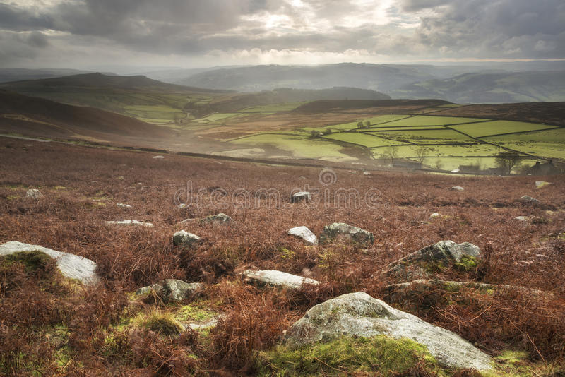 Beautiful Autumn Fall landscape of Hope Valley from Stanage Edge. Stunning Autumn Fall landscape of Hope Valley from Stanage Edge in Peak District royalty free stock images