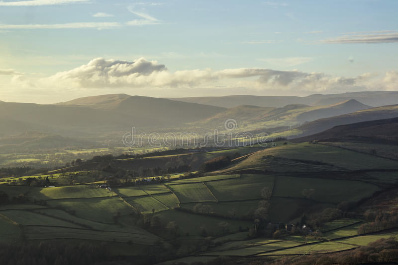 Beautiful Autumn Fall landscape of Hope Valley from Stanage Edge. Stunning Autumn Fall landscape of Hope Valley from Stanage Edge in Peak District stock images