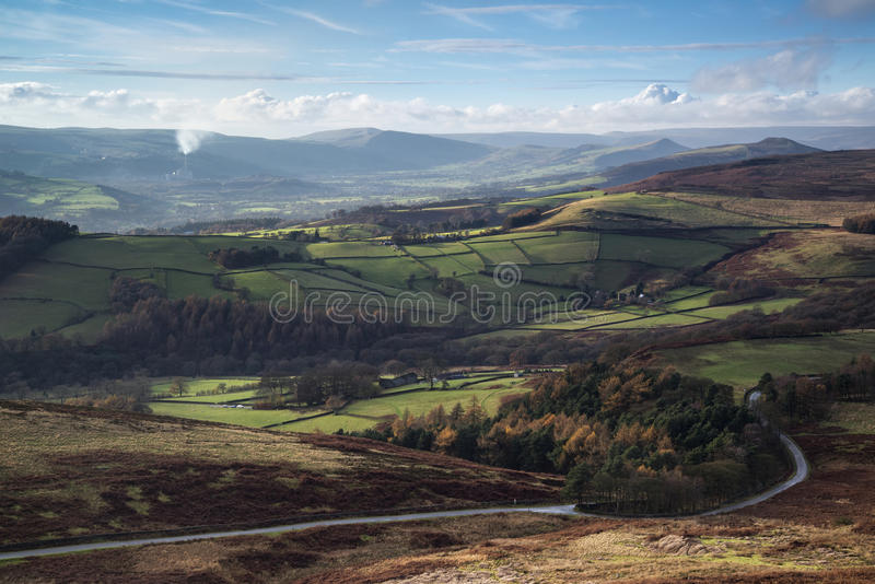 Beautiful Autumn Fall landscape of Hope Valley from Stanage Edge. Stunning Autumn Fall landscape of Hope Valley from Stanage Edge in Peak District stock image