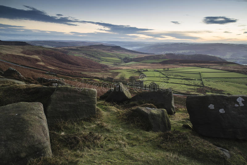 Beautiful Autumn Fall landscape of Hope Valley from Stanage Edge. Stunning Autumn Fall landscape of Hope Valley from Stanage Edge in Peak District royalty free stock photos