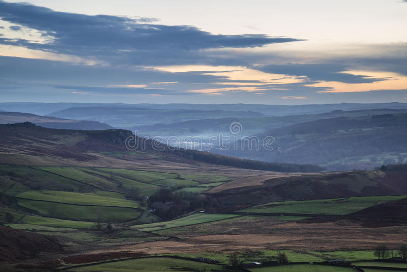 Beautiful Autumn Fall landscape of Hope Valley from Stanage Edge. Stunning Autumn Fall landscape of Hope Valley from Stanage Edge in Peak District royalty free stock photography
