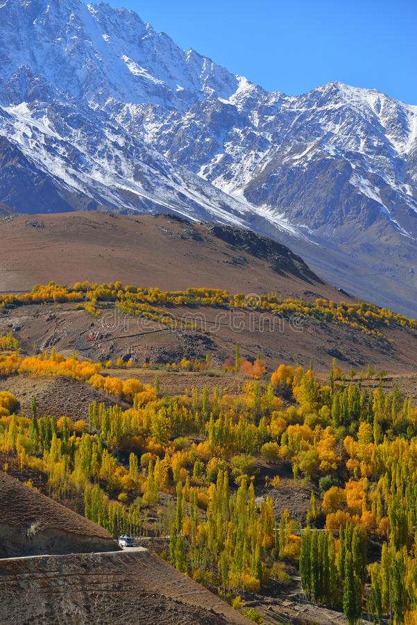 Beautiful Autumn at Ghizer Valley. Autumn at Ghizer Valley. Northern Pakistan royalty free stock image