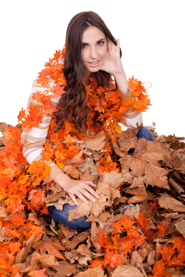 Download Beautiful Autumn Girl Covered With  Leaves Stock Image - Image: 17015069