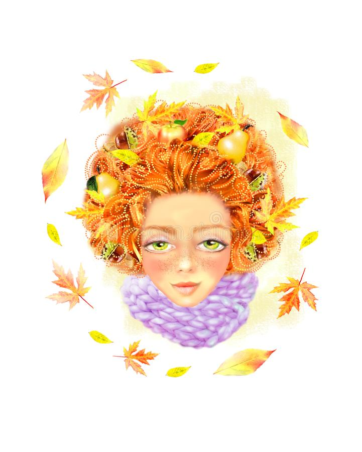 Beautiful autumn girl on a white background with wreath of leaves, chestnuts, pears, apples in her hair. stock illustration