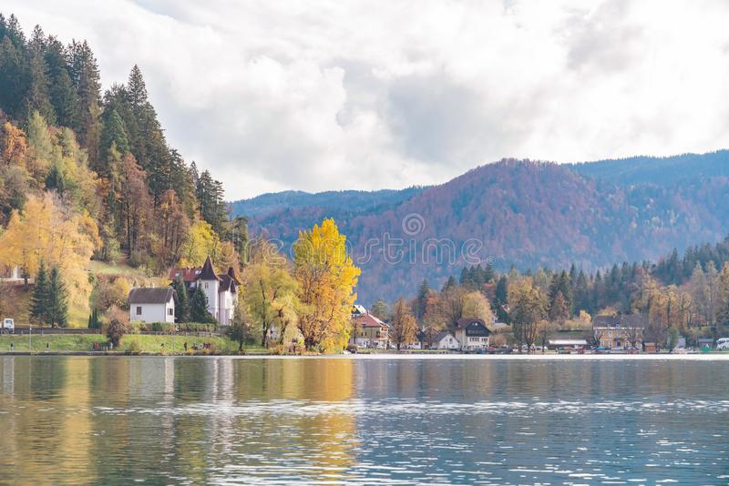 Beautiful autumn landscape around Lake Bled. At Slovenia stock photos