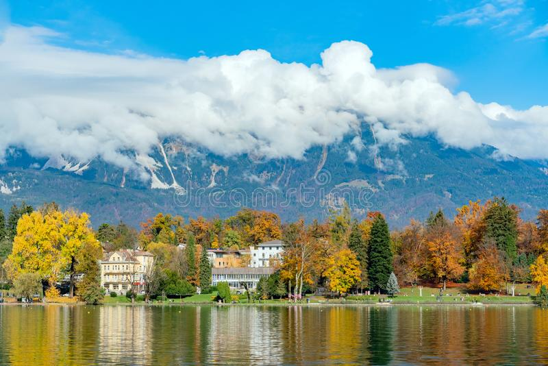 Beautiful autumn landscape around Lake Bled. At Slovenia stock photography