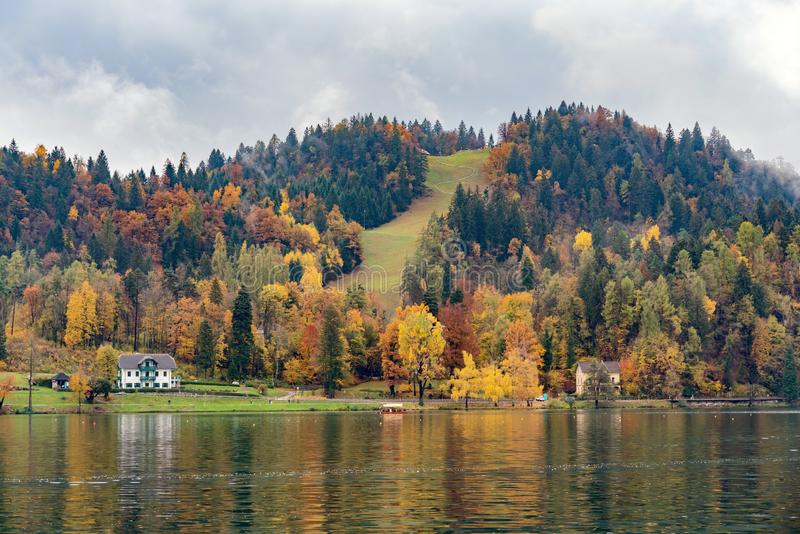 Beautiful autumn landscape around Lake Bled. At Slovenia royalty free stock images