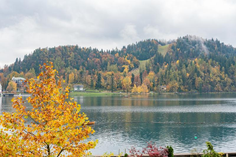 Beautiful autumn landscape around Lake Bled. At Slovenia stock image