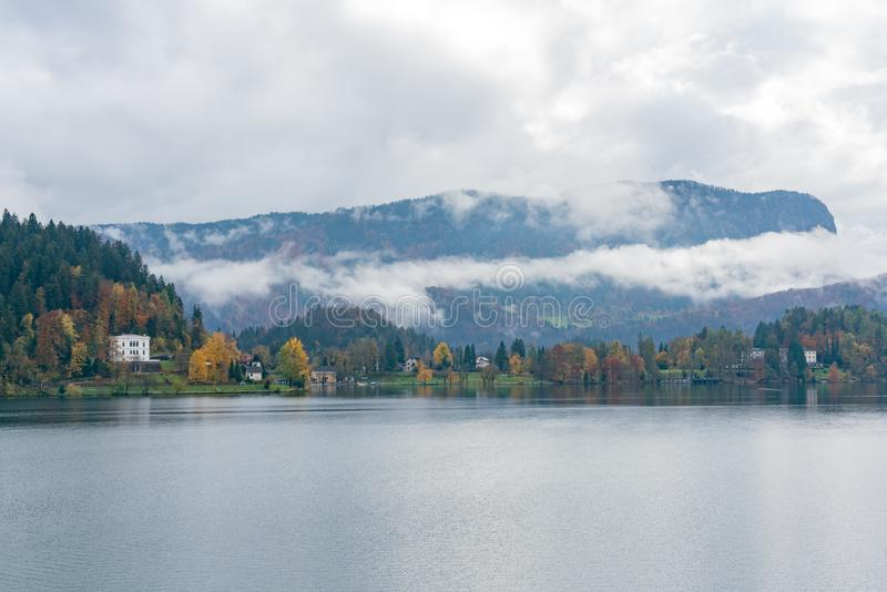 Beautiful autumn landscape around Lake Bled. At Slovenia stock photo