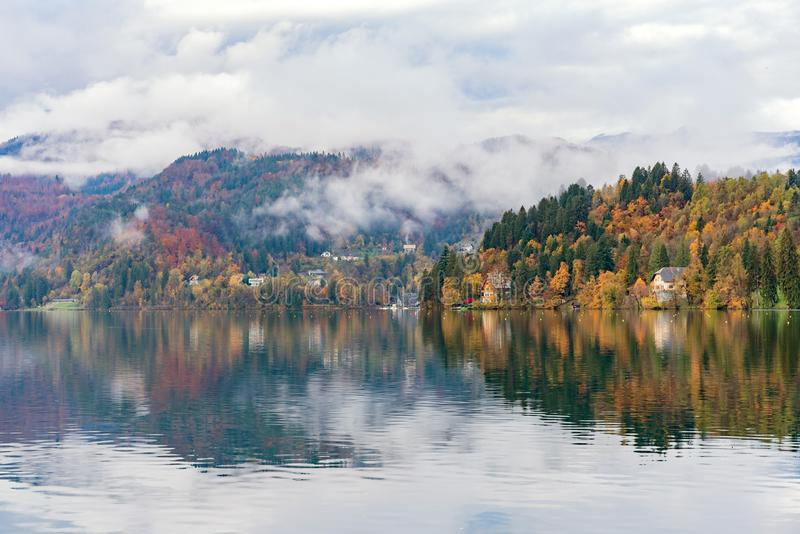 Beautiful autumn landscape around Lake Bled. At Slovenia royalty free stock photos