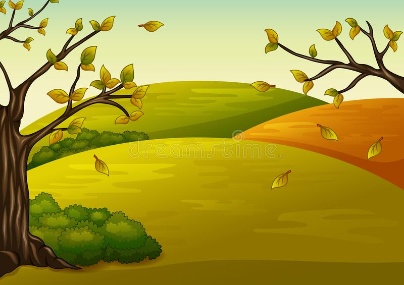 Beautiful autumn landscape and falling leaves. Illustration of Beautiful autumn landscape and falling leaves stock illustration