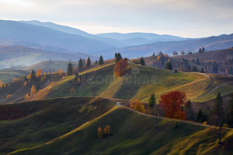 Beautiful autumn landscape with the green trees, orange coloured forest, high mountains and blue sky. Wide road. Autumn scene. royalty free stock image