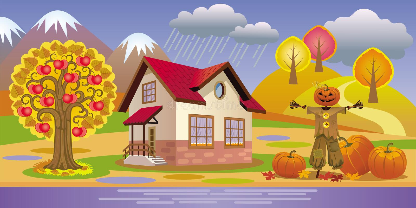 Beautiful autumn landscape with house, Apple trees and pumpkins. Vector beautiful autumn landscape with house, Apple trees, pumpkins and garden Scarecrow royalty free illustration