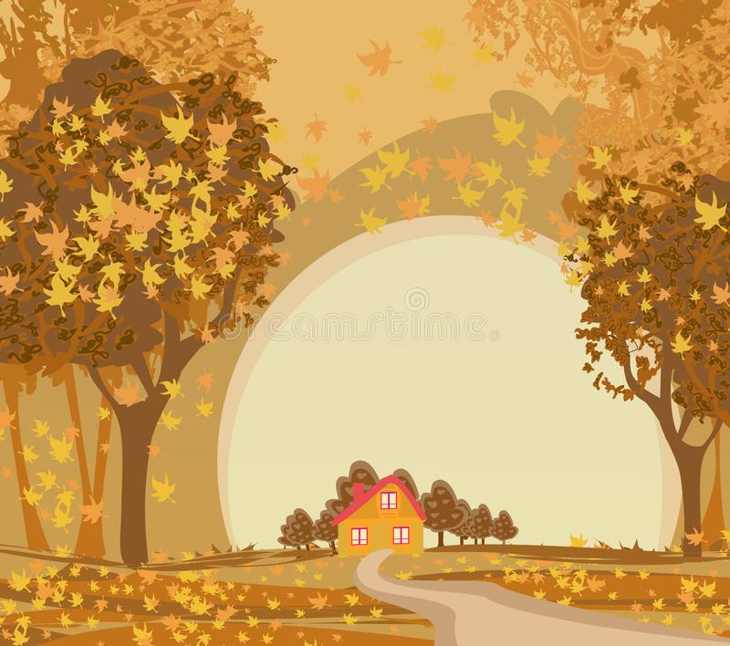 Beautiful autumn landscape, house in the forest, illustration. Beautiful autumn landscape, house in the forest, vector illustration royalty free illustration
