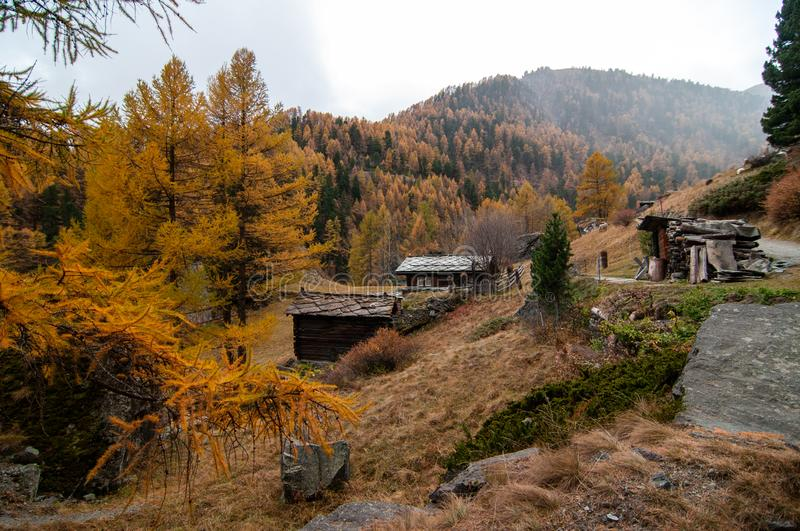 Beautiful autumn landscape with some old chalets in Zermatt area. Beautiful autumn mountain landscape in Swiss Alps, with some old chalets in Zermatt area stock images