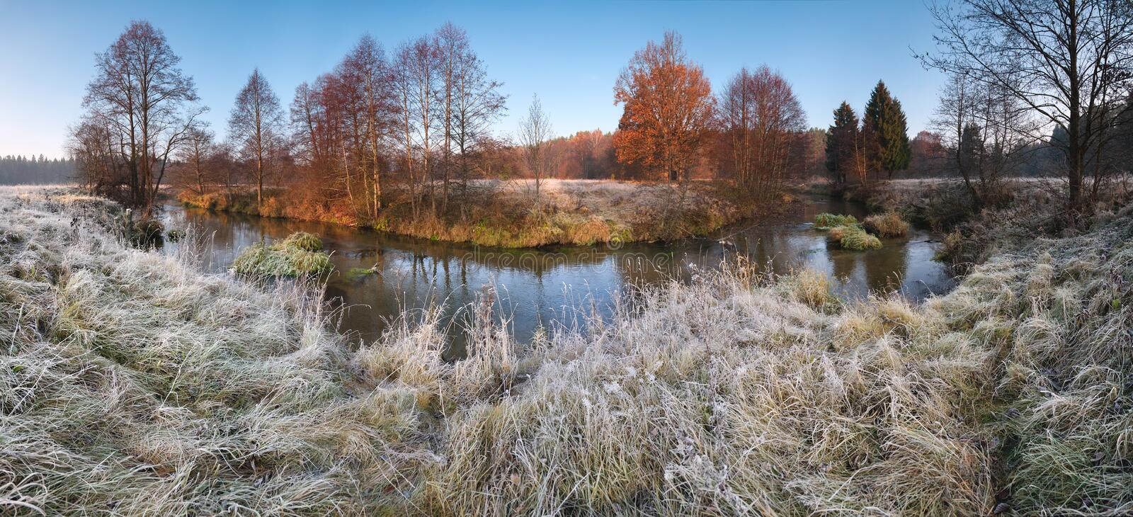 Beautiful autumn morning panorama with frosty grass, small river, falling trees and blue sky. royalty free stock photo