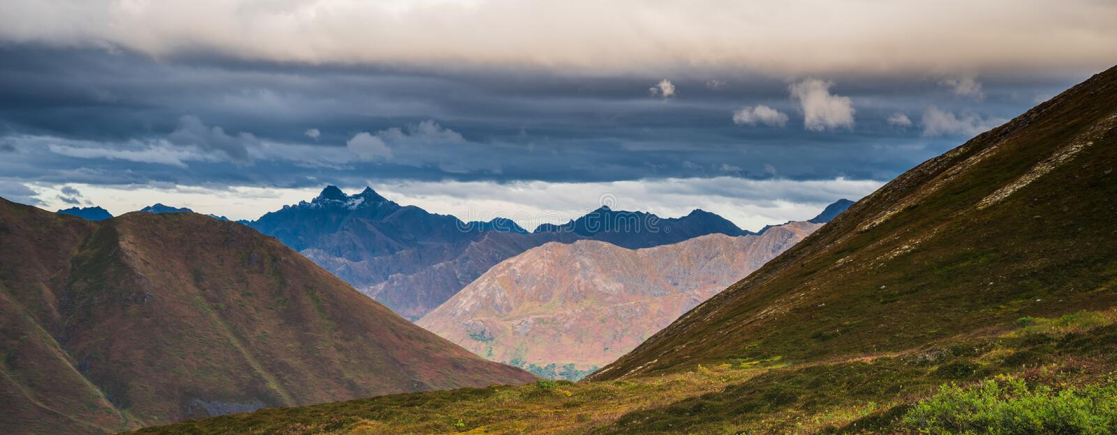 Beautiful autumn panorama of mountain landscape in Alaska royalty free stock images