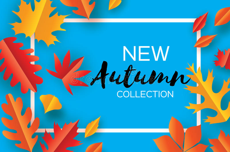 Beautiful Autumn paper cut leaves. Hello Autumn. September flyer template. Rectangle frame. Space for text. Origami. Foliage. Maple, oak. Fall poster background stock illustration