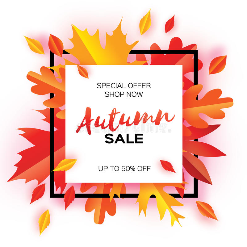 Beautiful Autumn paper cut leaves. Sale. September flyer template. Square frame. Space for text. Origami Foliage. Maple stock illustration