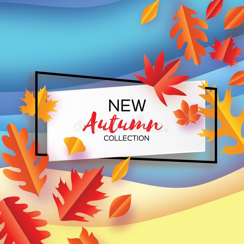 Beautiful Autumn in paper cut style. Origami leaves. Hello Autumn. September. October. Rectangle frame for text. Origami vector illustration