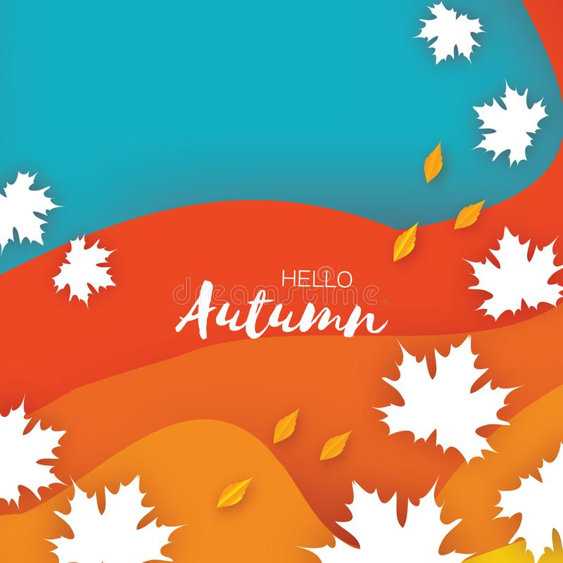 Beautiful Autumn in paper cut style. Origami leaves. Hello Autumn. September. October. Rectangle frame for text. Origami royalty free illustration