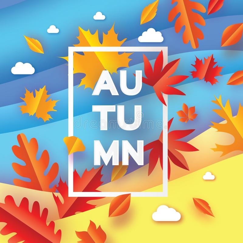 Beautiful Autumn in paper cut style. Origami leaves. Hello Autumn. September. October. Rectangle frame for text. Origami stock illustration