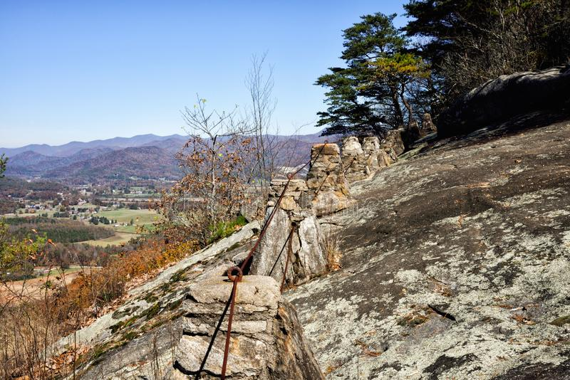 Lookoff Mountain Overlook on Black Rock Mountain Georgia USA. Beautiful autumn scenic view of the Blue Ridge Mountains of the Appalachian Mountains from a rocky stock photography