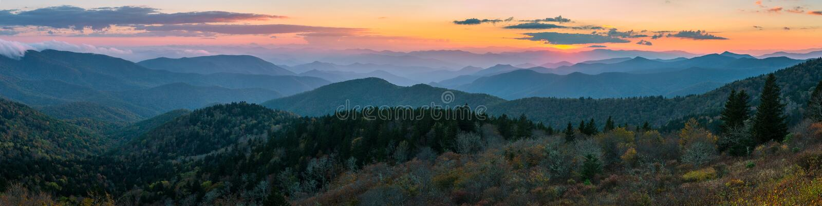 Scenic sunset, Blue Ridge Mountains, North Carolina royalty free stock image