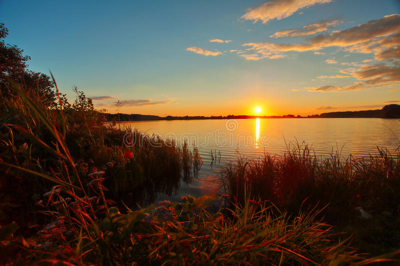 Beautiful Autumn Sunset Over Lake Landscape In Forest Stock Photo ...