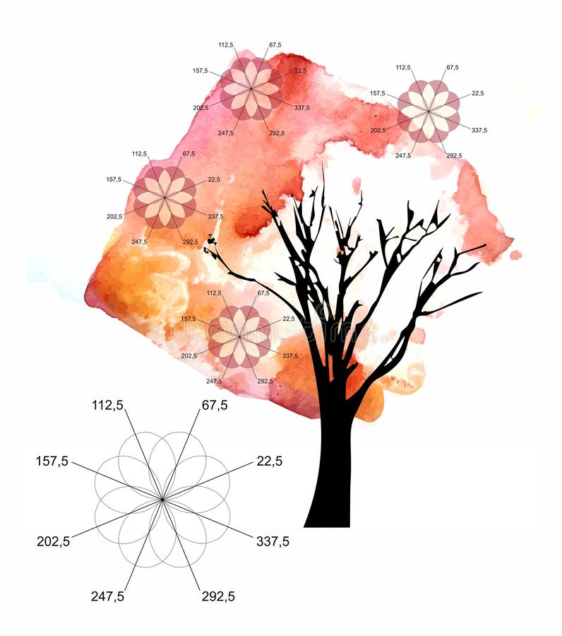 Beautiful autumn tree and flowers in form of algebraic graphs of Roses Grandi on white background. Conceptual illustration.  royalty free illustration