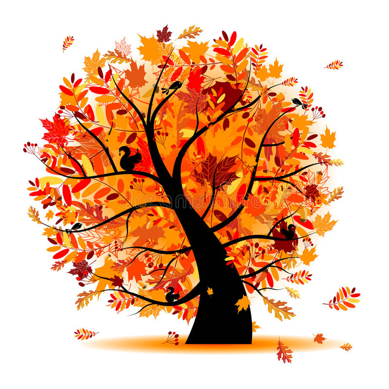Free Beautiful Autumn Tree For Your Design Royalty Free Stock Photos - 16083018