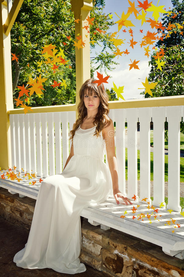 Beautiful autumn woman royalty free stock image