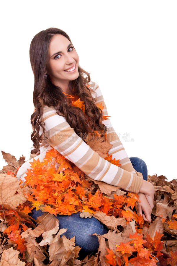 Beautiful Autumn Woman Covered With  Leaves Stock Image