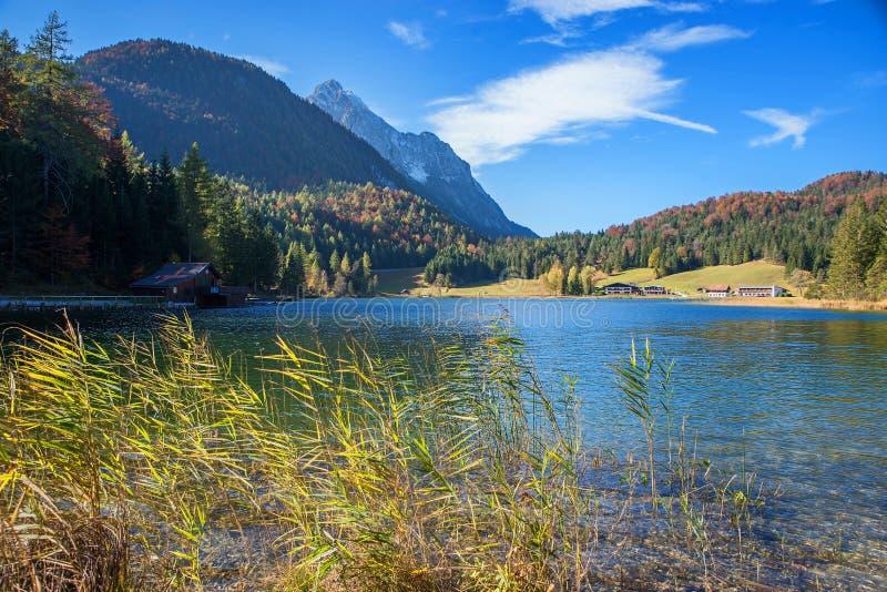 Beautiful autumnal landscape lake lautersee near mittenwald stock photography