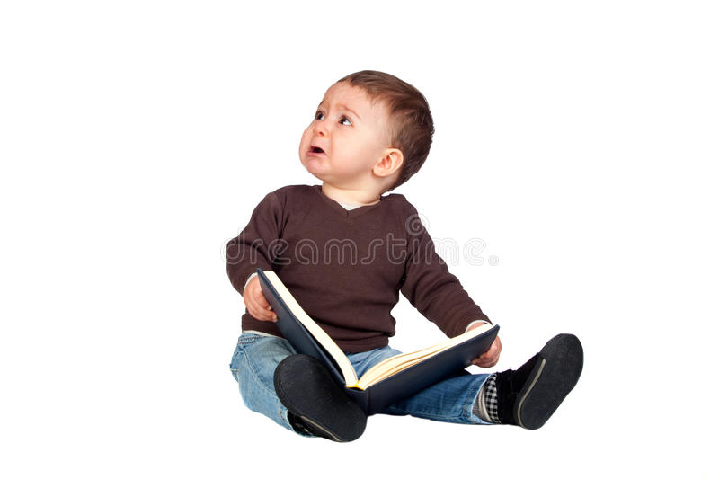 Download Beautiful Baby With A Book Crying Stock Photo - Image: 18908806