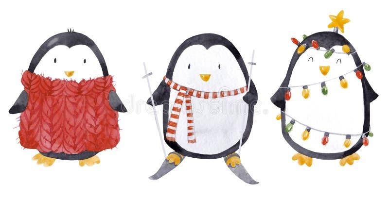 Watercolor christmas baby penguin set vector illustration