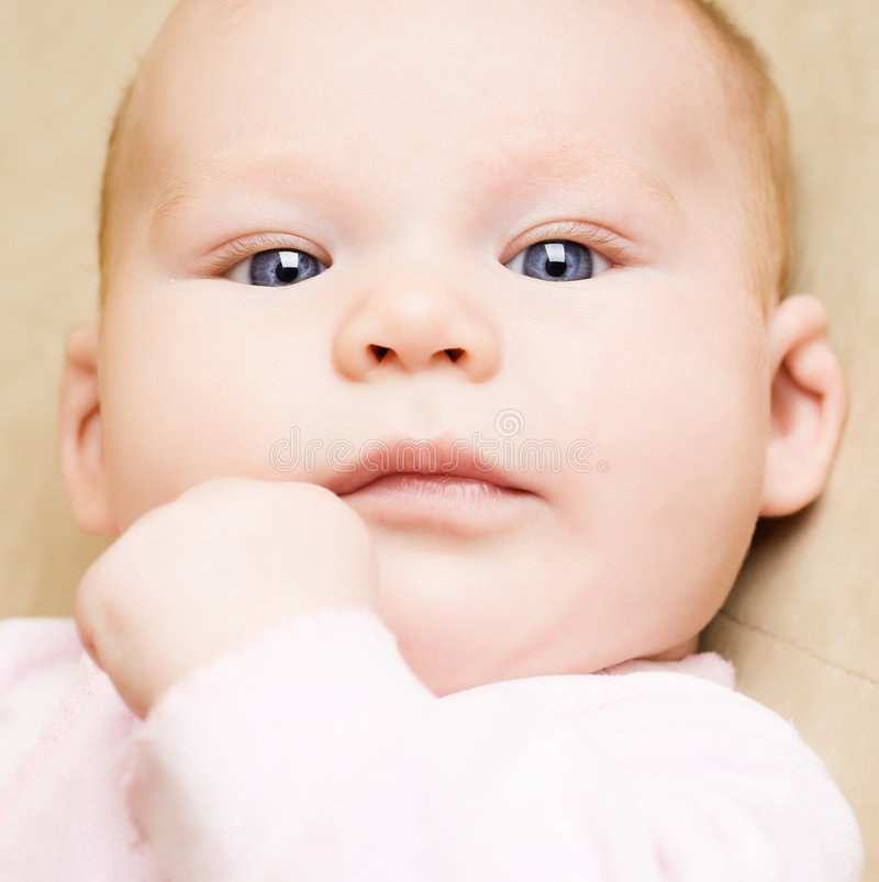 Beautiful baby close-up portrait stock photography