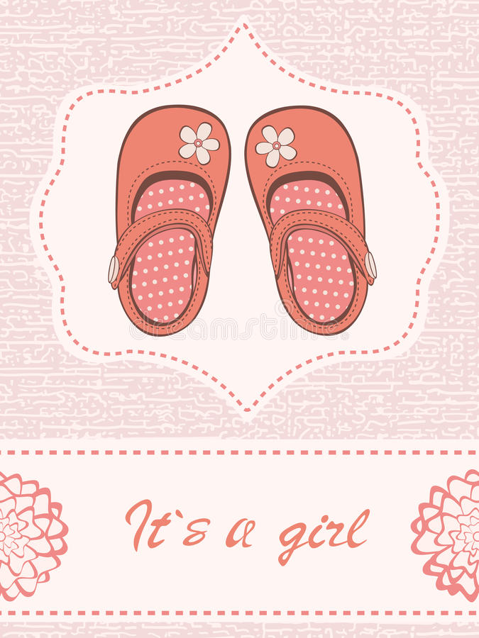 Beautiful baby girl announcement card with beautiful shoes royalty free illustration
