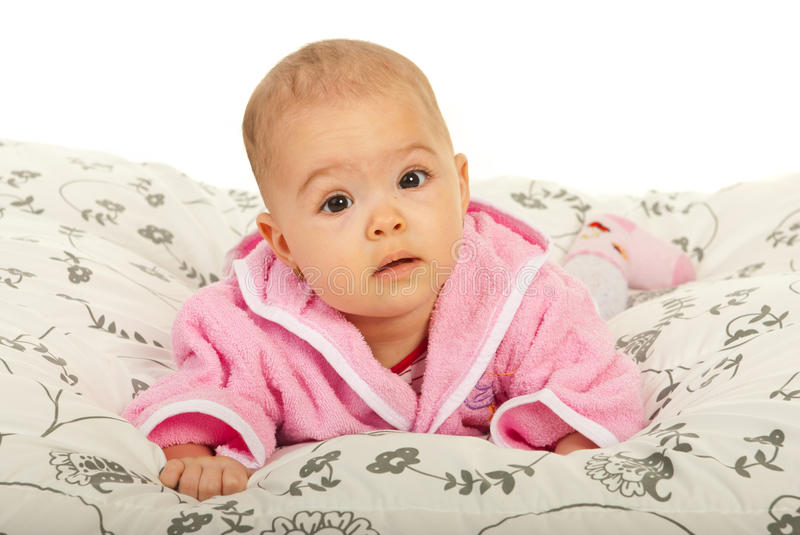 Beautiful Baby Girl Crawling Stock Images