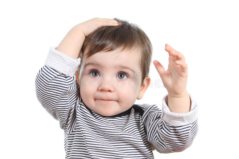 Beautiful baby girl with hand on the head stock photo