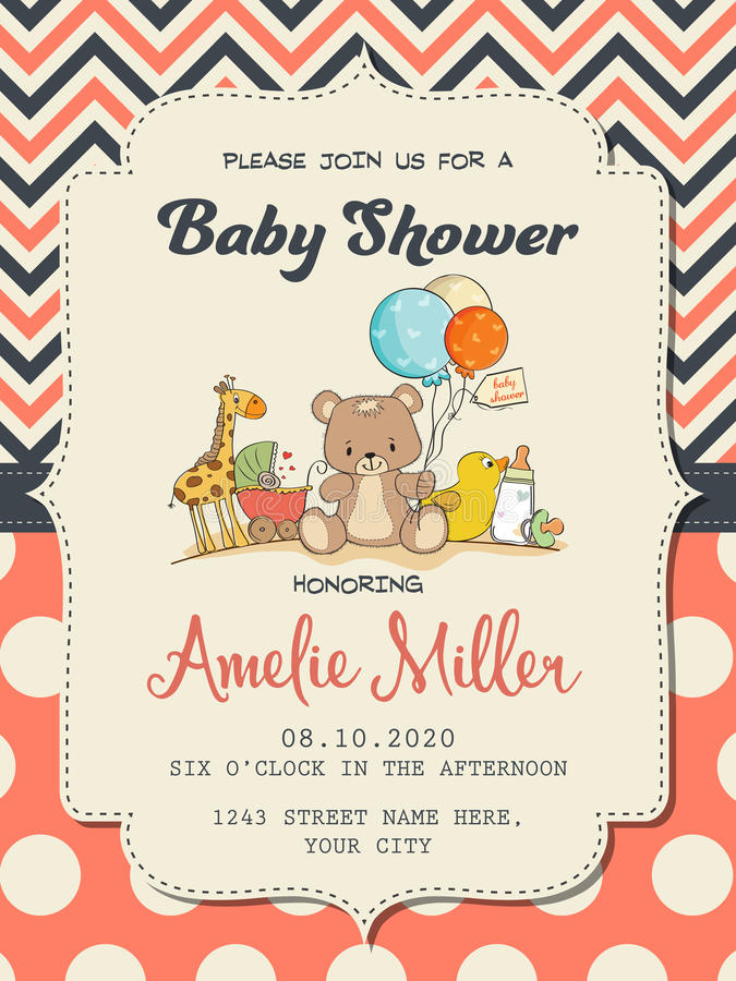 Beautiful baby girl shower card with toys. Vector format vector illustration