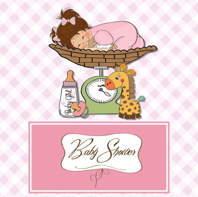 Download Beautiful Baby Girl On On Weighing Scale Stock Illustration - Illustration of cartoon, expression: 24890652