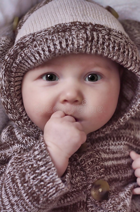 Download Beautiful Baby With Hands In Mouth Stock Photo - Image of cute, infant: 8073214