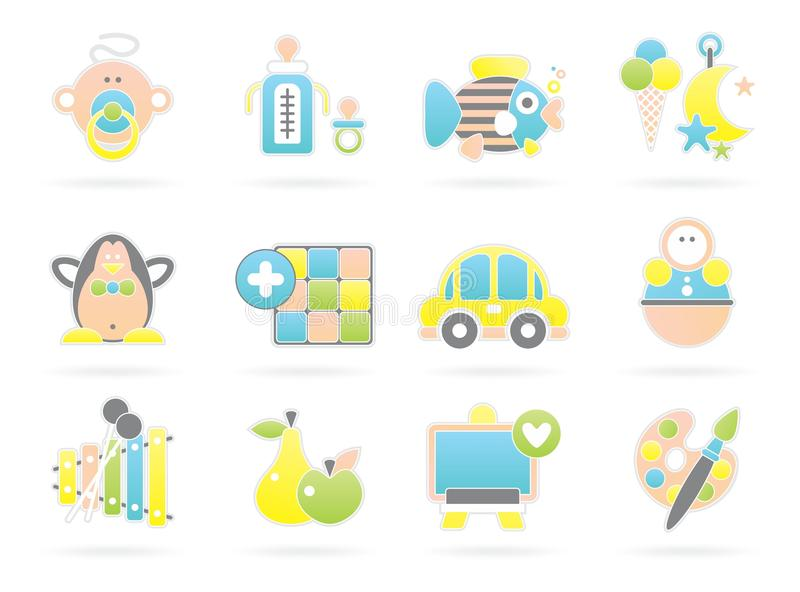 Download Beautiful baby icons stock vector. Image of nursery, pastelny - 17117746
