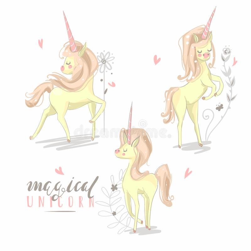 Beautiful baby unicorns sketch in different poses with flowers stock image